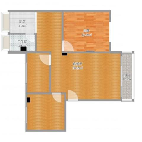 富丽家园福宁园1室2厅1卫1厨89.00㎡户型图