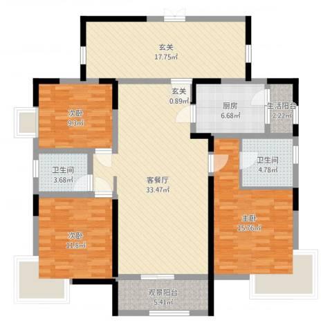 凯鑫华府3室2厅2卫1厨139.00㎡户型图