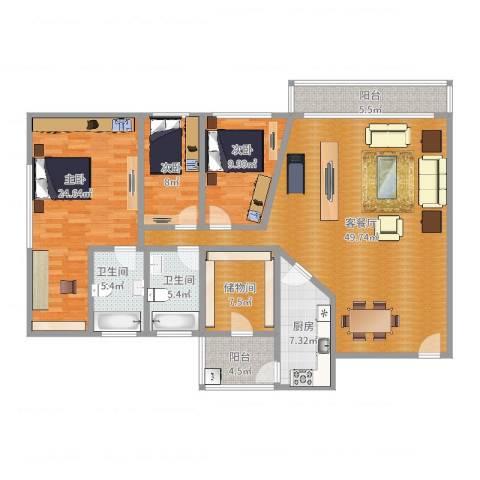 中海锦苑3室2厅2卫1厨160.00㎡户型图