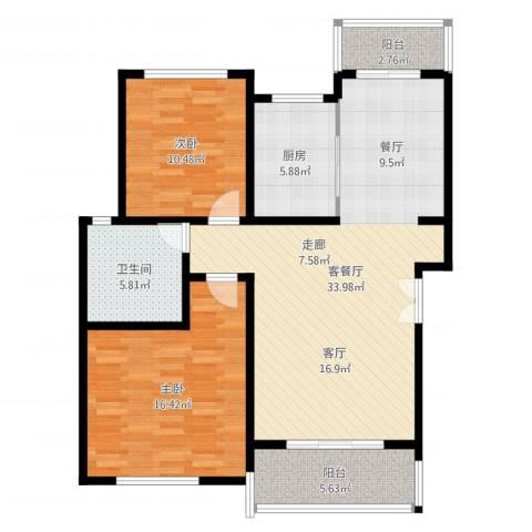 贝越流明新苑2室2厅1卫1厨114.00㎡户型图