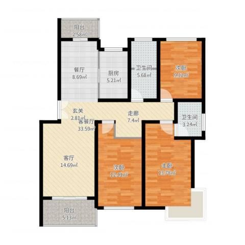 贝越流明新苑3室2厅2卫1厨129.00㎡户型图