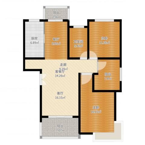 贝越流明新苑2室2厅1卫1厨128.00㎡户型图