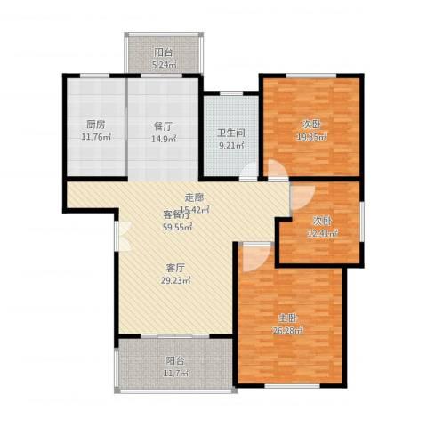 贝越流明新苑3室2厅1卫1厨212.00㎡户型图