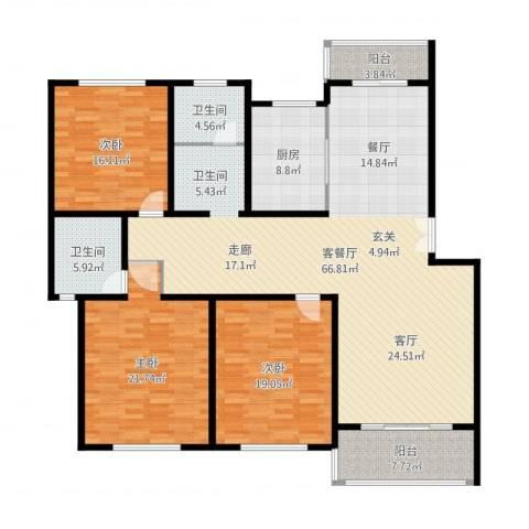 贝越流明新苑3室2厅2卫1厨212.00㎡户型图