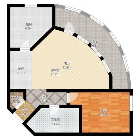 碧云东方公寓1室2厅1卫1厨86.74㎡户型图