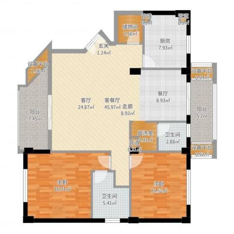 碧云东方公寓2室2厅2卫1厨124.98㎡户型图