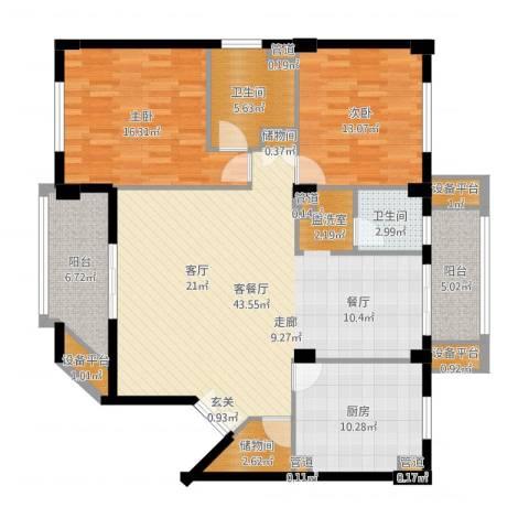 碧云东方公寓2室2厅2卫1厨124.61㎡户型图