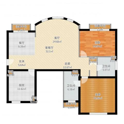 碧云东方公寓2室2厅2卫1厨125.81㎡户型图