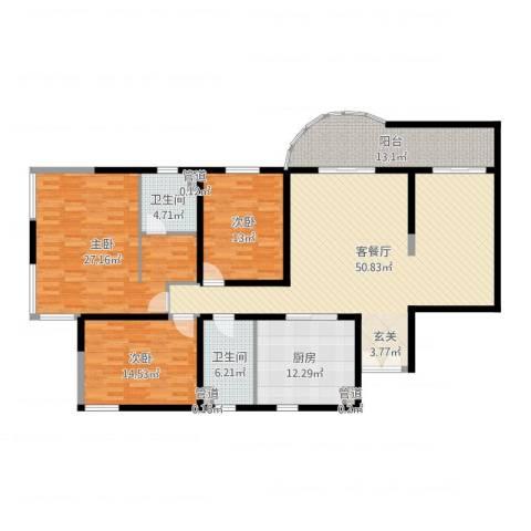 财富海景花园3室2厅2卫1厨200.00㎡户型图