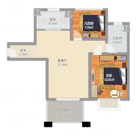 中星・外滩印象花园2室2厅1卫1厨77.00㎡户型图