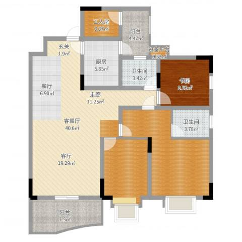 光华南桥人家1室2厅2卫1厨132.00㎡户型图