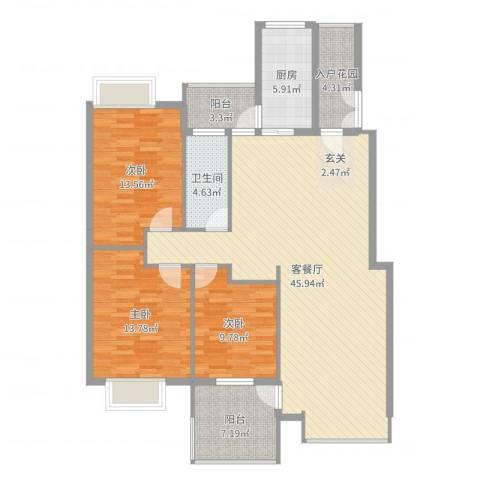 公园华府3室2厅1卫1厨136.00㎡户型图