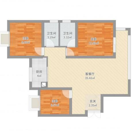 瑞府3室2厅2卫1厨93.00㎡户型图