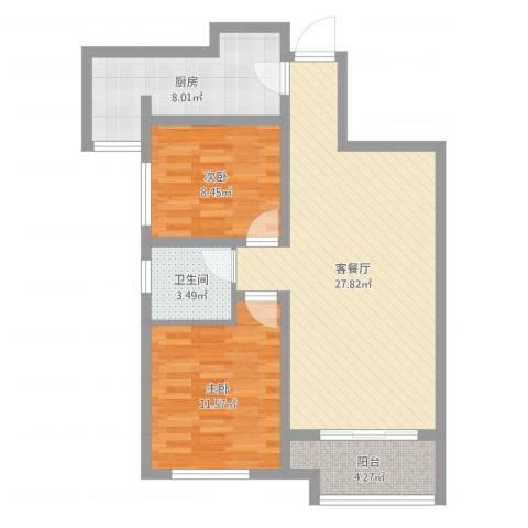 天朗大兴郡2室2厅1卫1厨80.00㎡户型图