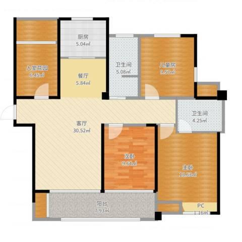 圣联香御公馆3室1厅2卫1厨121.00㎡户型图