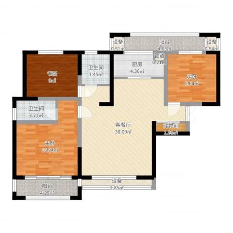 宝信润山3室2厅2卫1厨110.00㎡户型图