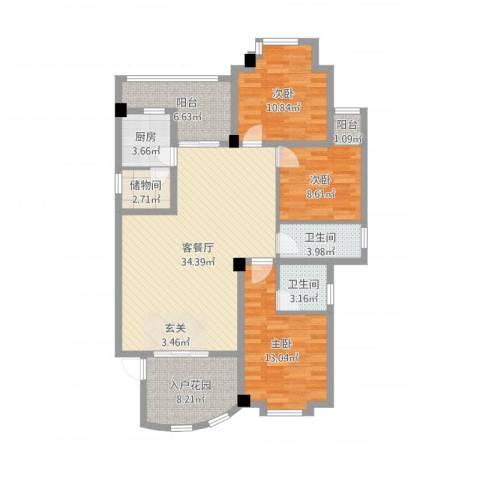 河南岸金城花园3室2厅2卫1厨120.00㎡户型图