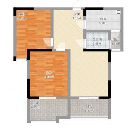 左邻右里2室2厅1卫1厨106.00㎡户型图