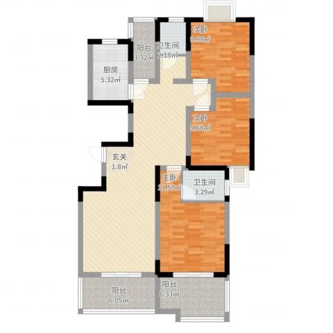 左邻右里3室2厅2卫1厨138.00㎡户型图