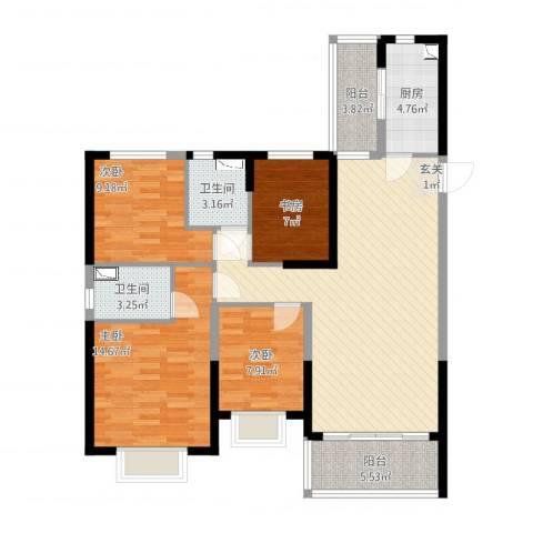 恒大绿洲4室2厅2卫1厨133.00㎡户型图