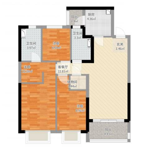 恒大绿洲3室2厅2卫1厨105.00㎡户型图