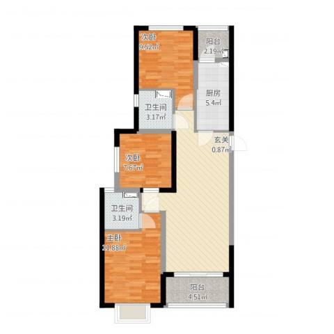 恒大绿洲3室2厅2卫1厨106.00㎡户型图