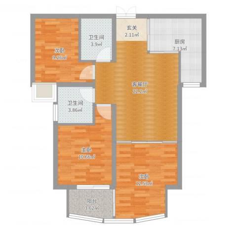 金吉华冠苑3室2厅2卫1厨91.00㎡户型图