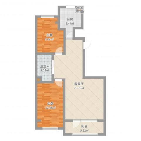 君地天城2室2厅1卫1厨85.00㎡户型图