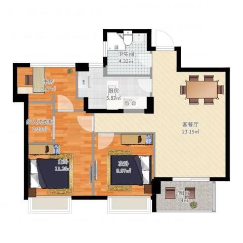 方正荷塘月色3室2厅1卫1厨92.00㎡户型图