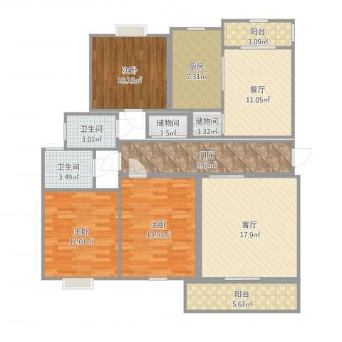 锦绣花园3室2厅2卫1厨125.00㎡户型图