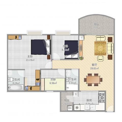 华南碧桂园别墅3室1厅2卫1厨117.00㎡户型图