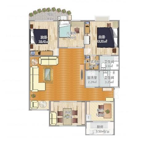 五凤山庄4室3厅2卫1厨116.00㎡户型图