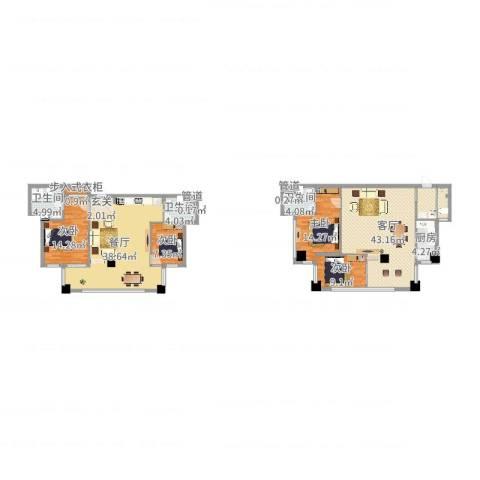 兴隆太阳谷温泉城4室2厅5卫1厨182.00㎡户型图