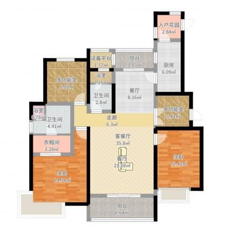 富力十号2室2厅2卫1厨136.00㎡户型图