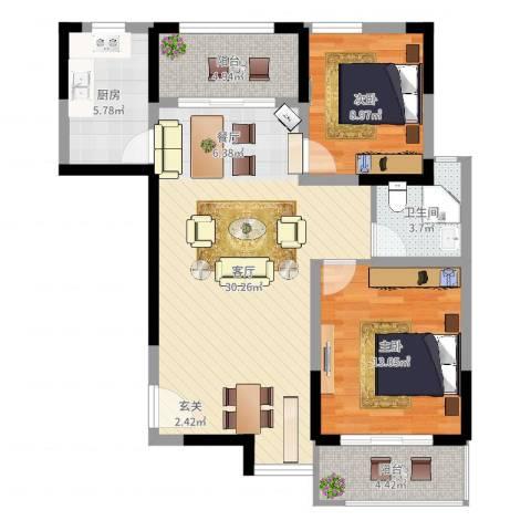 珊瑚水岸2室1厅1卫1厨89.00㎡户型图