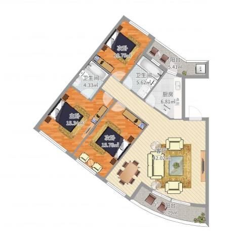 银桂公寓3室1厅2卫1厨141.00㎡户型图