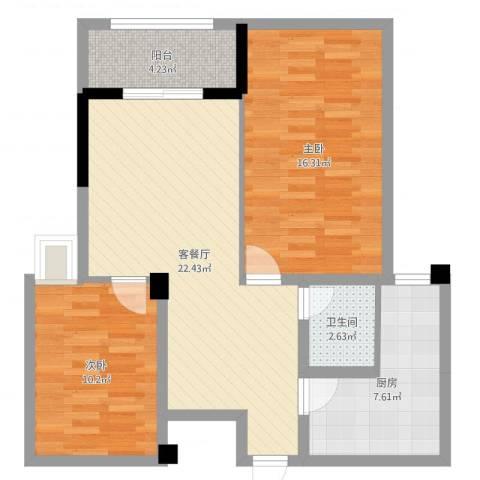 泽胜中央广场2室2厅1卫1厨79.00㎡户型图