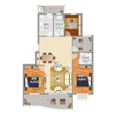 银桂公寓3室1厅2卫1厨130.00㎡户型图