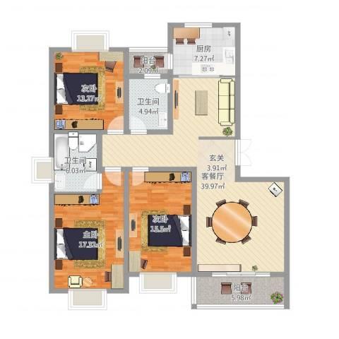 都市豪庭3室2厅2卫1厨140.00㎡户型图