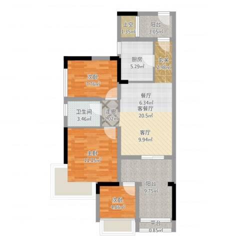 西湖怡景园3室2厅1卫1厨85.00㎡户型图