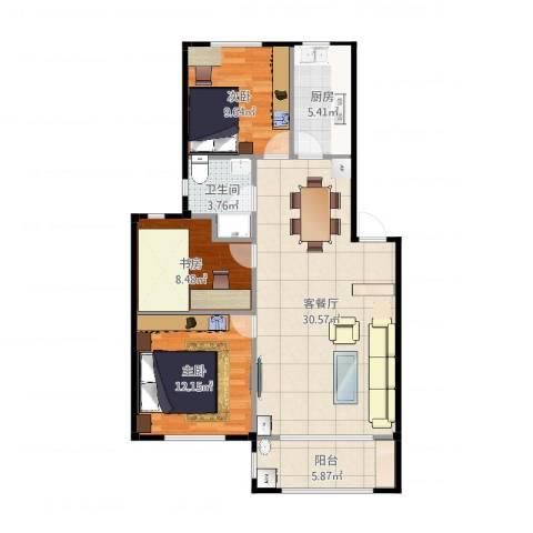 喜盛威尼斯三期3室2厅1卫1厨95.00㎡户型图