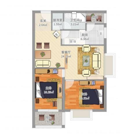 华翔世纪城2室2厅1卫1厨77.00㎡户型图