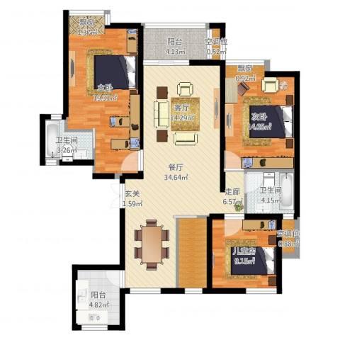 保利御樽苑3室1厅3卫1厨124.00㎡户型图