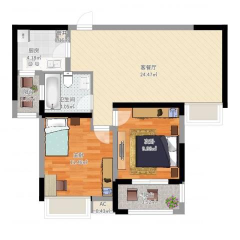 高速滨湖时代广场2室2厅1卫1厨88.00㎡户型图