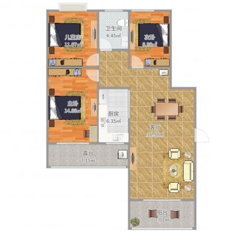 书香门第3室1厅1卫1厨121.00㎡户型图