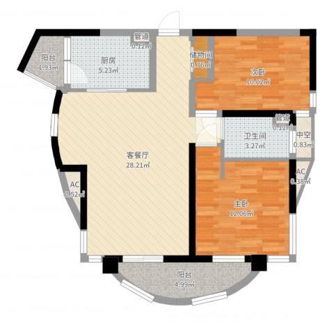 大华锦绣华城公园新纪2室2厅1卫1厨86.00㎡户型图