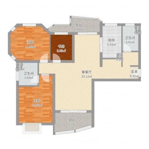 大华锦绣华城第19街区3室2厅2卫1厨107.00㎡户型图