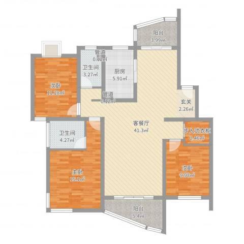 大华锦绣华城第19街区3室2厅2卫1厨129.00㎡户型图