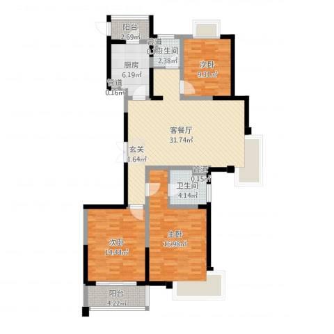 新时代广场3室2厅2卫1厨116.00㎡户型图