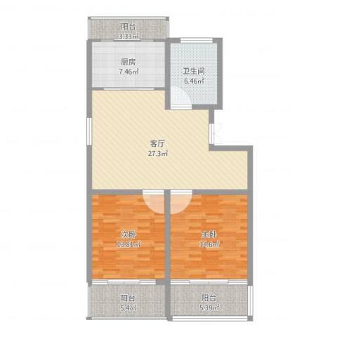 西欧名邸2室1厅1卫1厨105.00㎡户型图